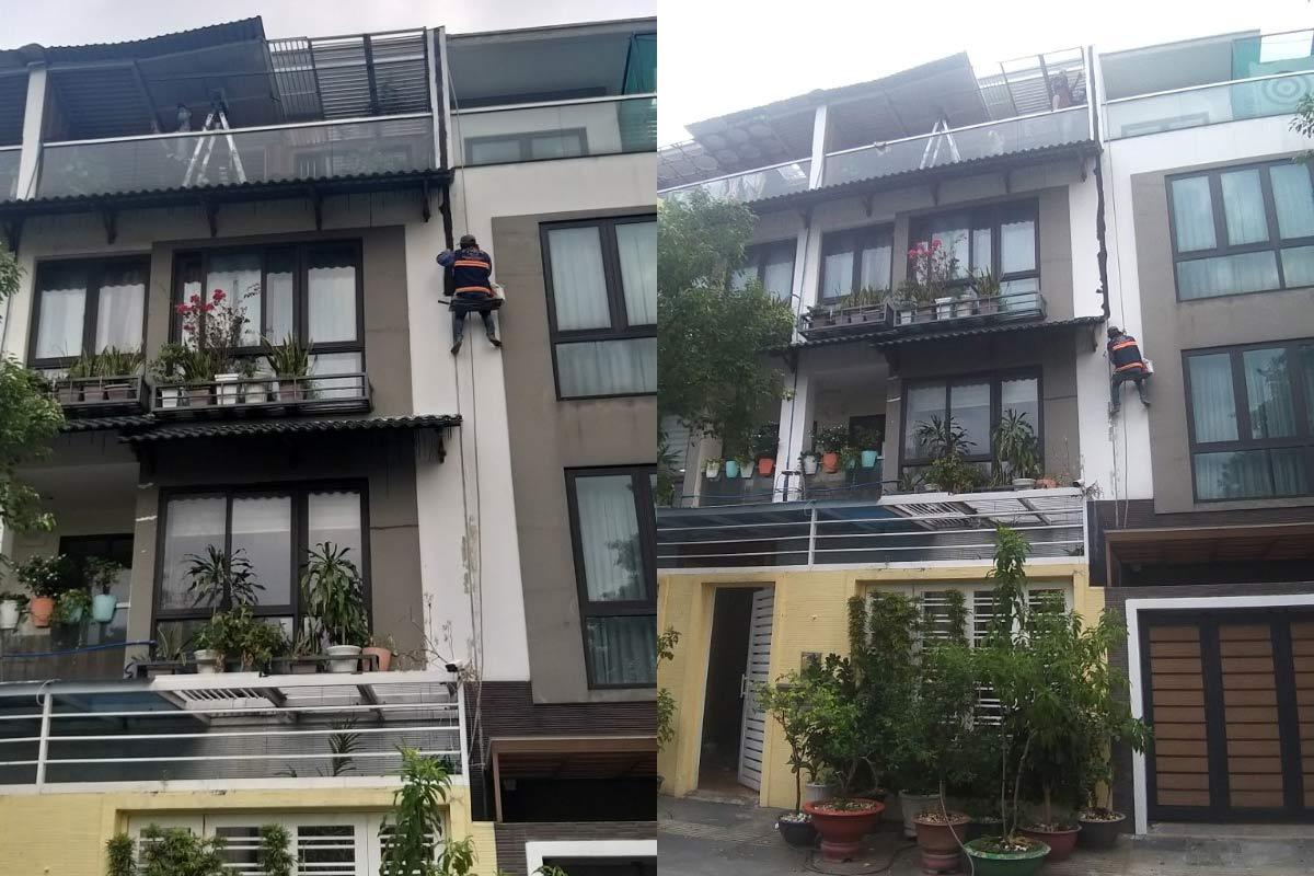 chong tham khe nut tuong giua 2 nha quan 10 - Chống thấm sân thượng nhà phố tại quận 10 – công trình nhà Chú Ngọc